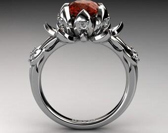 Nature Inspired 950 Platinum 2.0 Carat Oval Orange Sapphire White Diamond Lotus Flower Engagement Ring R1013-PLATDOS