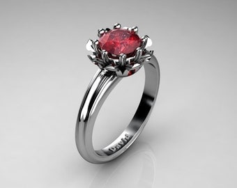 Classic 14K White Gold 1.0 Carat Ruby Solitaire Engagement Ring R1012-14KWGR