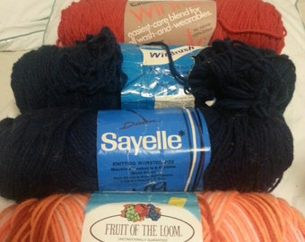 Four Miscellaneous Skeins of Vintage Yarn