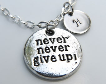 Never Give Up Necklace Antique Silver Charm with Personalized Hand Stamped Initial Letter A-Z, Customized Monogram Charms Necklace