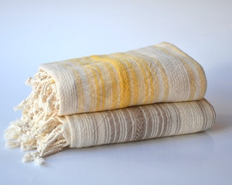 2 LINEN PESHTEMAL - Turkish Linen Towel / Bridesmaid Gift / Wedding Gift / Gift Idea /  Housewarming Gift / yellow beige ecru stripes