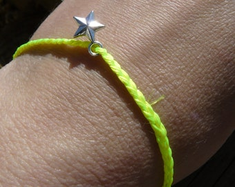Friendship Bracelet/Anklet Neon Braided with Star Charm