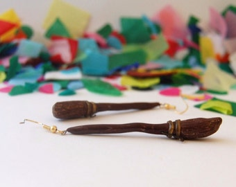 polymer clay Harry Potter Broomstick earrings