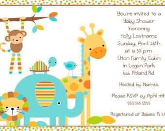 Baby Animals Shower Invitation