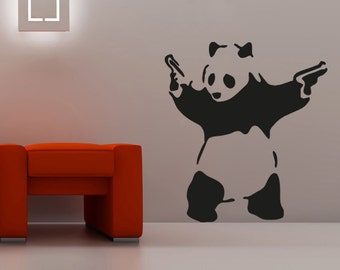 New Banksy Panda with guns Wall Decal Wall Stickers Large 64 cm X 58 cm