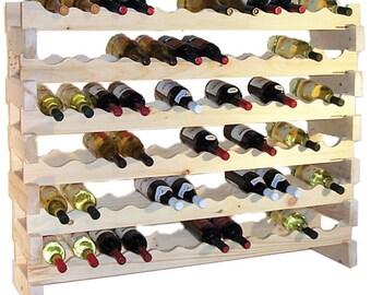 72 Bottle 6 Shelf Pine Stackable Wine Rack
