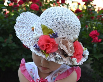 Girls Sun Hat with Fabric Flowers, Flowers Sun Hat, Straw Paper Hat for Girls