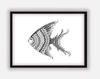 Fish art print Black and white doodle Fish wall art Printable poster Digital home decor, Instant Download