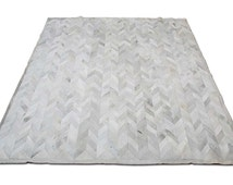 Shine Rugs - Gray Cowhide Rug Chevron Design No. 276