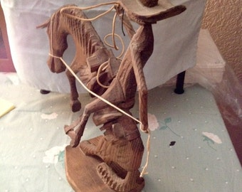 Wood Carved Horse and Rodeo Rider
