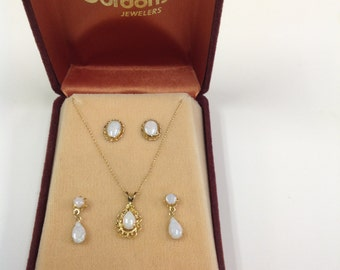 PRICE REDUCED! Opal Necklace with Two Earring Sets