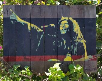 "24""x18"" Reclaimed Wood Bob Marley Painting Wall Art Home Decor"