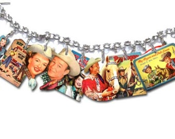 Country Western Roy Rogers Dale Evans Trigger The Horse 1950's TV Show Collectible Jewelry Charm Bracelet