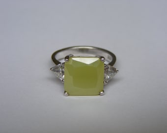 Vintage Large Sterling Silver Asscher Cut Ring
