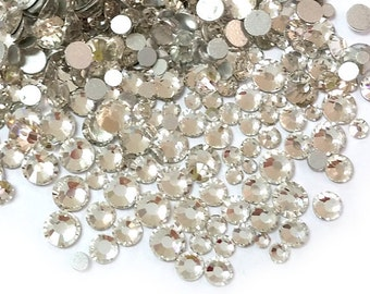 500pcs High Quality Wholesale Pack Mixed Assorted Silver Back FlatBack Gem Glass Rhinestone Gemstones Size ss6 ss8 ss10 ss12 ss16 ss20-Clear