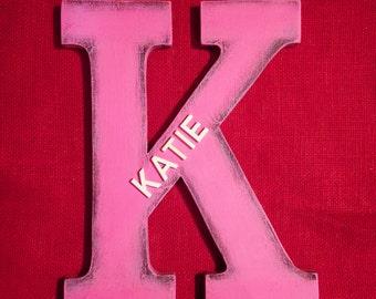 Katie( Wooden name) pink letter monogram nursery decoration