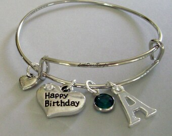 Girls Happy Birthday / Inital Charm W/ Swarovski Birthstone Crystal Drop Bangle / Adjustable / Tiny Heart / Under Twenty Gift Usa HB1