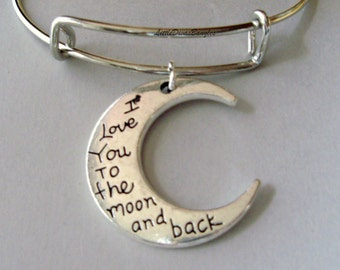 I LOVE To The Moon And Back Charm Adjustable  Bangle Bracelet/ Charm Bracelet / Gift For Her / Under Twenty - Usa MO1