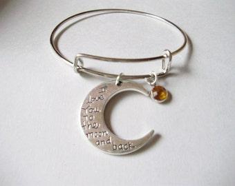 I LOVE To The Moon And Back Charm W/ Swarovski  Birthstone Crystal Drop / Charm Bracelet / Gift For Her /  Under Twenty  Usa