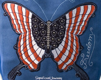 Red White and Blue Patriotic Butterfly Machine Embroidery Design for Handbags 2 Sizes