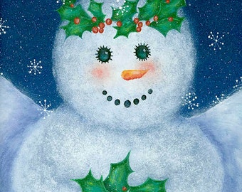 Guardian Angel Snowman, Snowman with Holly, Snowman Art Print