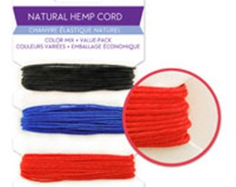 Natural Hemp Cord -1 mm dia -13.7 m long - 3 colours-Black,blue red