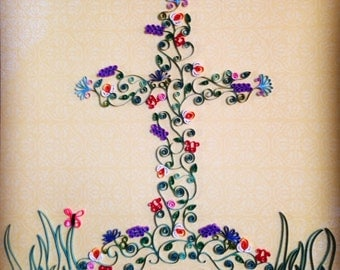 Quilled Cross of flowers