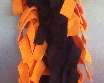 Black and Orange Fleece Scarf