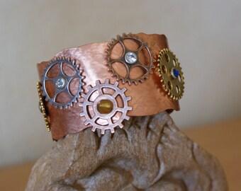 Steampunk copper bracelet, bracelet, copper Bangle, Barcelet