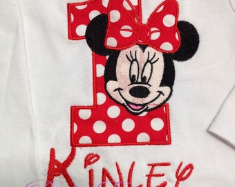 Red Minnie Mouse 1st Birthday  Shirt