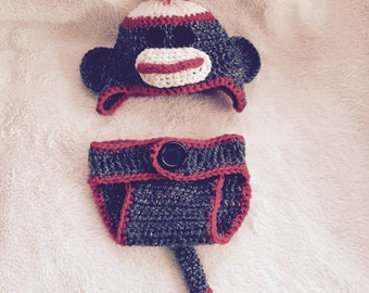 Sock Monkey Diaper Cover and Hat