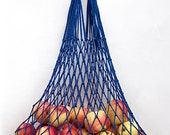 Blue bag is from natural material, shoulder bag, string - bag mesh bag, made by hand 100% eco bag, amazing product for you.