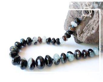 Gradation necklace in black agate, blue, Brown and Silver 925