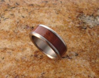Australian Red Gum Burl and Titanium Ring, titanium rings, titanium wedding rings, wood inlay, titanium and wood inlay rings, wood, metal,
