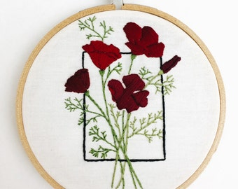 Red geometric poppy floral flowers 5 inch embroidery hoop wall decor