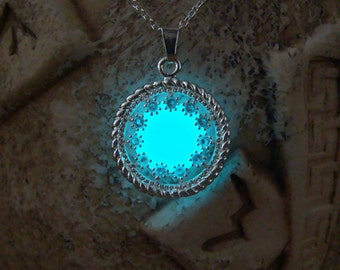 Circle with Crystals Necklace - Glowing Circle - Glowing Pendant - Aqua Blue Circle - Glow in the Dark Pendant - Glowing Jewelry - Necklace