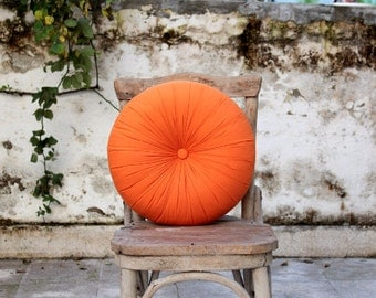 Orange, tangerine cotton round pillow 16""