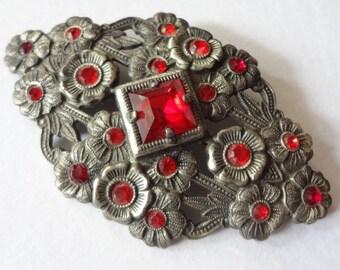 Antique Rhinestone Brooch, Red Flowers