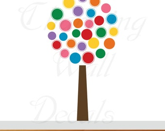 Circle Trees, Nursery Trees, Vinyl Wall Art, Colorful, Rainbow Decals, Rainbow, Gender Neutral, Twins Nursery, Cirles, Polka Dot Decals,Art