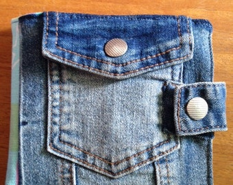 Sewing case, denim, portable and sturdy with 4 pockets and needle/pin storage