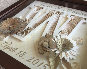 Custom Personalized Wedding, Anniversary, Birthday, Special Occasion Monogrammed Quilled Paper Art.