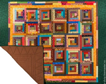 HandmadeTraditional Rustic, Patchwork Quilt Log Cabin,Double,King size Bed Throw, Blanket, BedSpread,Multicolor