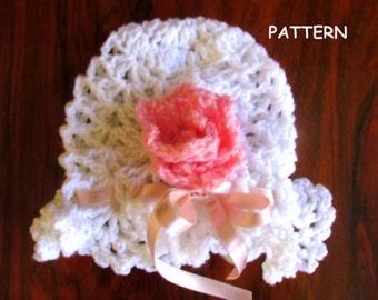 baby hat pattern, baby hat, newborn hat, white baby hat, simple baby hat, crochet baby hat, baby girl hat, flower baby hat, diy baby hat