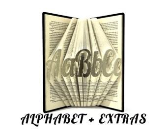 Book folding ALPHABET 5 - Medium fancy font - Book folding patterns + Tutorial with Simple pattern - Heart - AL0303