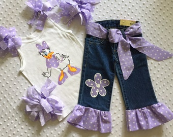 Daisy Duck Outfit Disney Inspired Custom 5pc. Boutique Pageant Birthday Vacation Summer All Sizes 18mo - 14years Casual Wear Pageant Nwt New