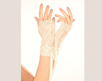 Wedding Lace Gloves- White Lace Gloves- Lace Wedding Gloves-  White wedding gloves- Bridal gloves White- bridal cuff #107