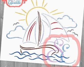 Come Sail Away Design For Machine Embroidery INSTANT DOWNLOAD