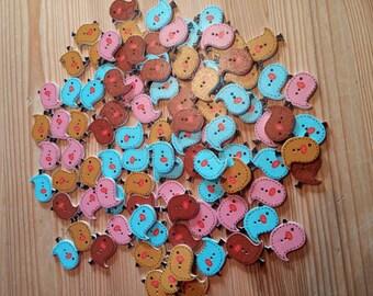 Wooden Bird Buttons × 10