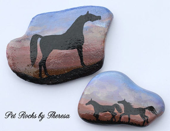 Set of Two Hand Painted Arabian Horse at Sunset Beach Stones Rock Direct from Artist One of a kind