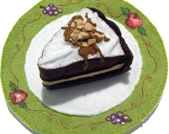 pretend felt food cake on hand painted plate